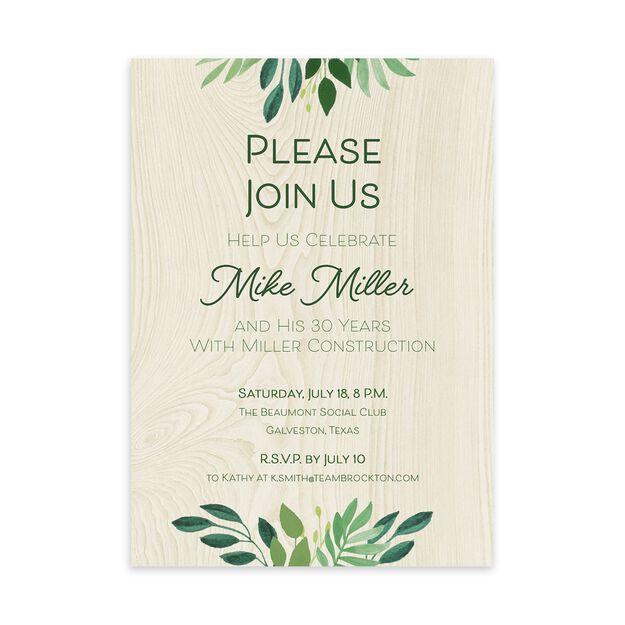 Plants & Woodgrain Customizable Invitation