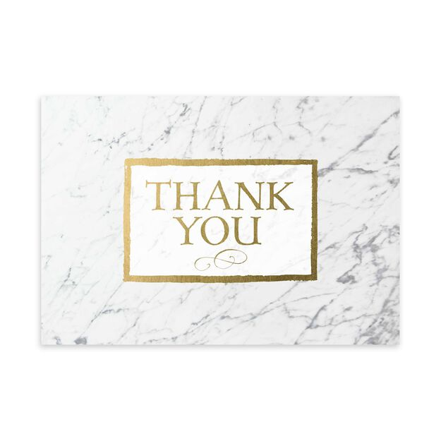 White Marble & Gold Thank You Card