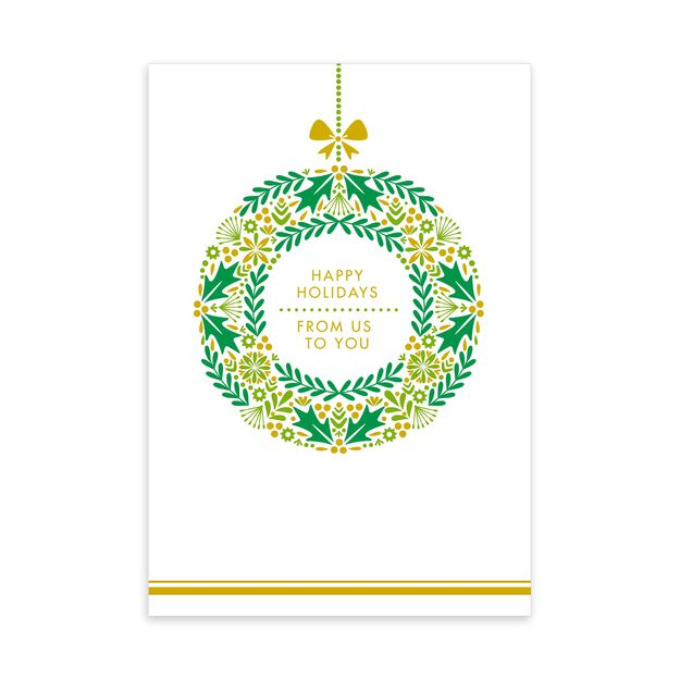 Gold & Green Wreath From Us Happy Holidays Card