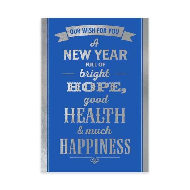 Silver Wish on Blue New Year Card