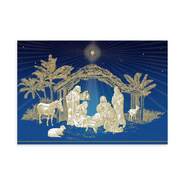 Golden Nativity Religious Christmas Card