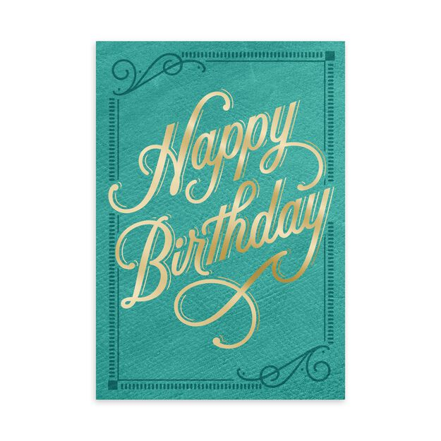 Gold on Turquoise Happy Birthday Card