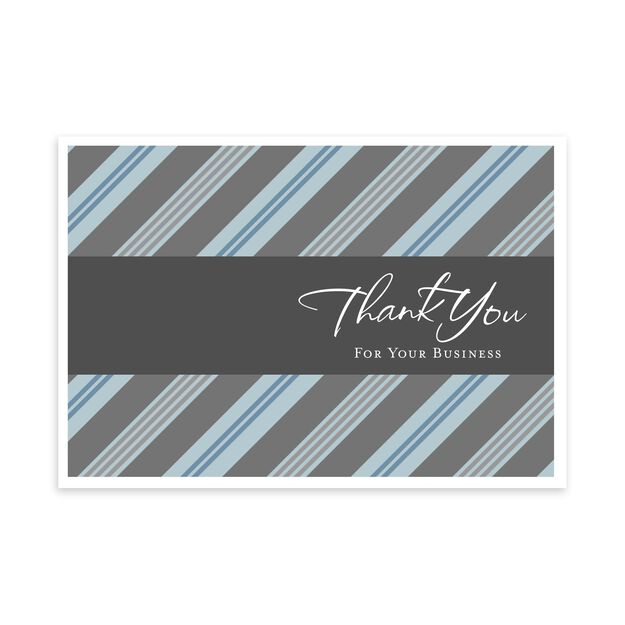 For Your Business, Blue Stripes Thank You Card