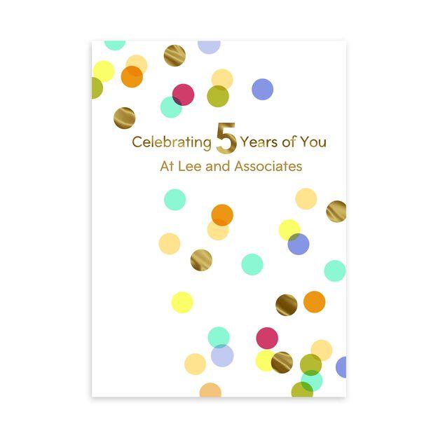 5 Year Celebration Customizable Anniversary Card