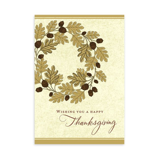 Acorns & Leaves Wreath Premium Thanksgiving Card