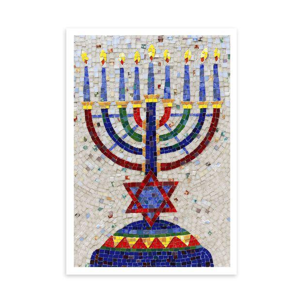 Mosaic Menorah Hanukkah Card