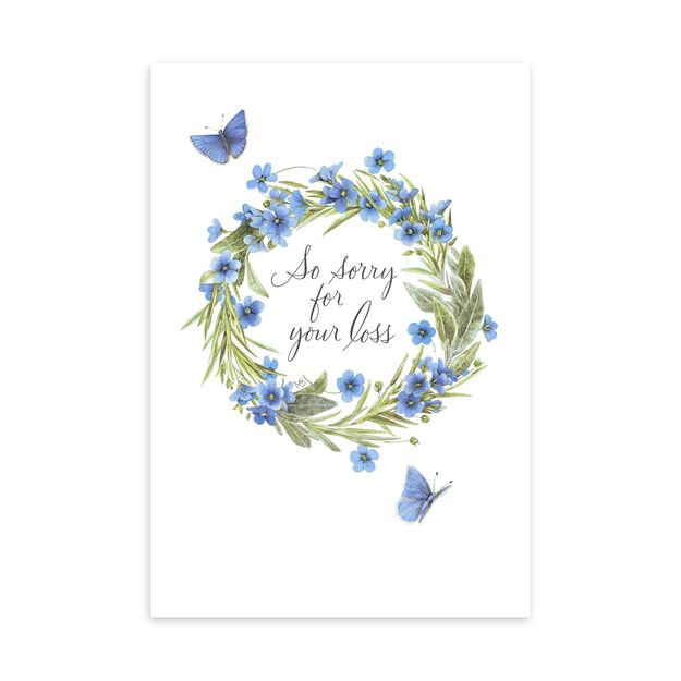 Nature's Sketchbook Butterflies & Wreath Sympathy Card