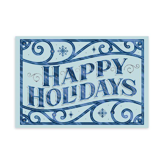 Blue & Silver Scroll Happy Holidays Card