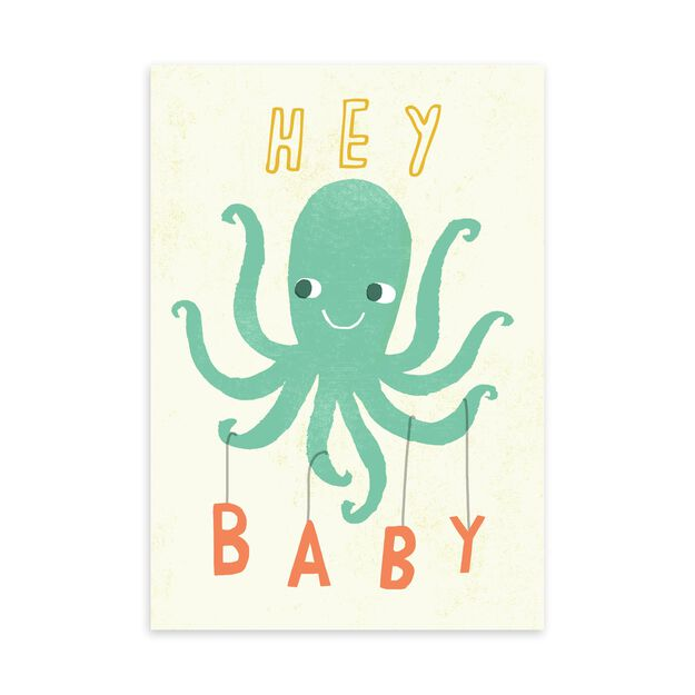 Octopus Mobile New Baby Card