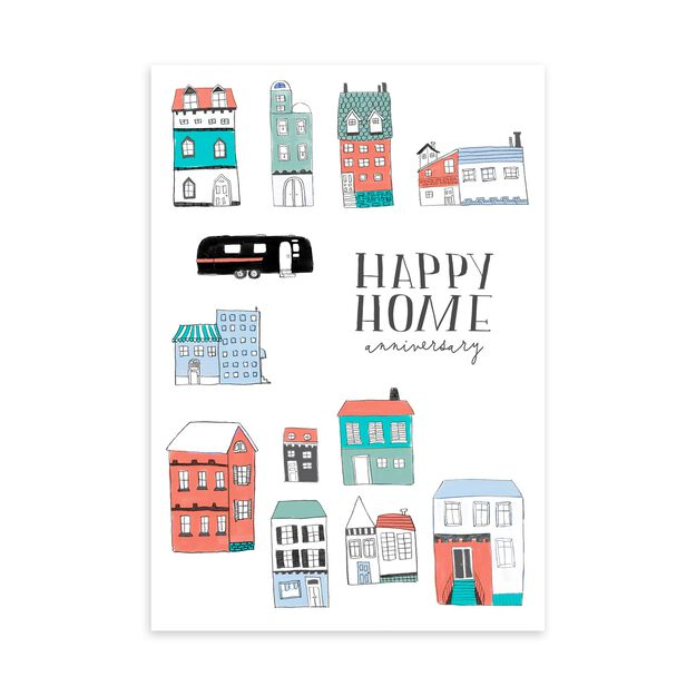 Town Illustration Home Anniversary Card