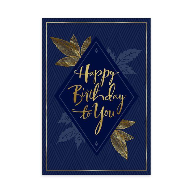 Gold Elegance on Navy Happy Birthday Card