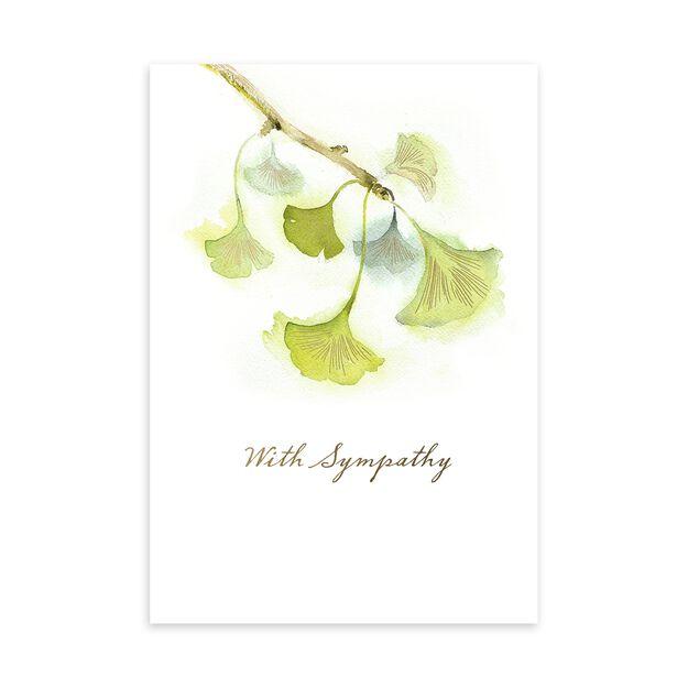 Golden Ginkgo Sympathy Card