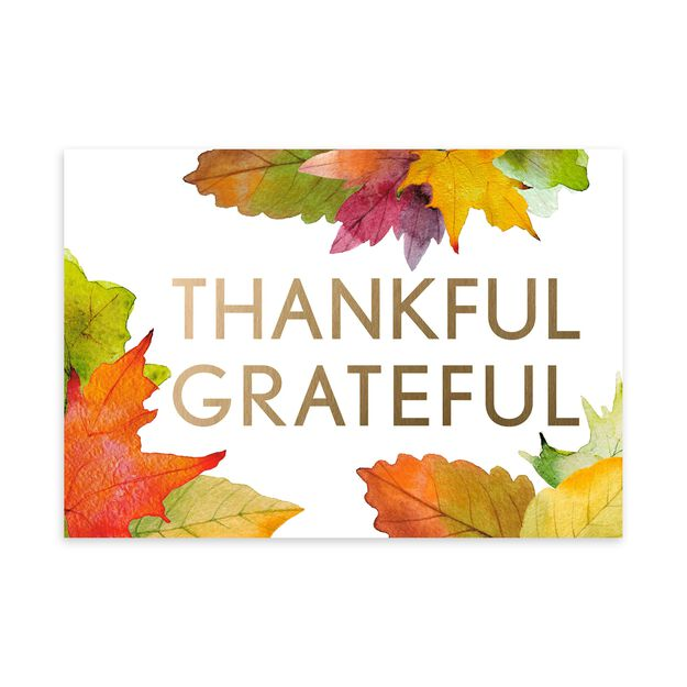 Thankful, Grateful in Gold Thanksgiving Card