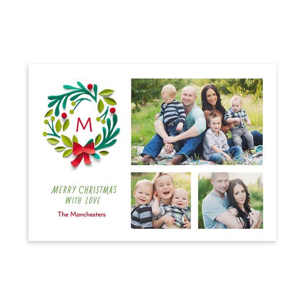 Monogram & Wreath Christmas Multi Photo Card