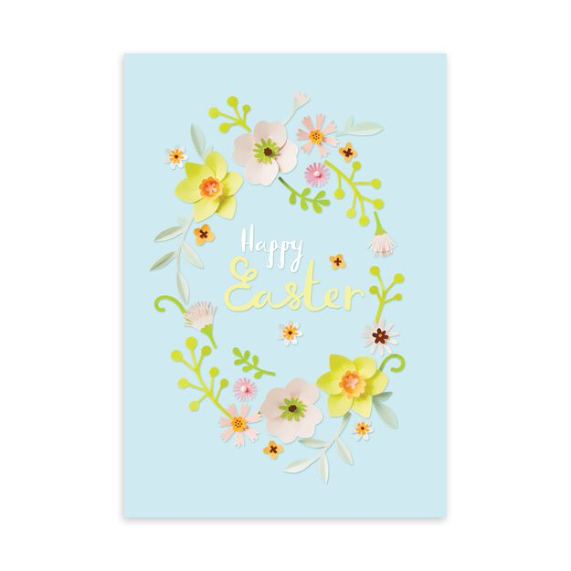 Paper Flowers Wreath Easter Card