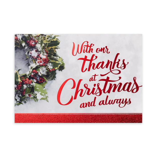 Holly Wreath & Red Letters Christmas Thank You Card